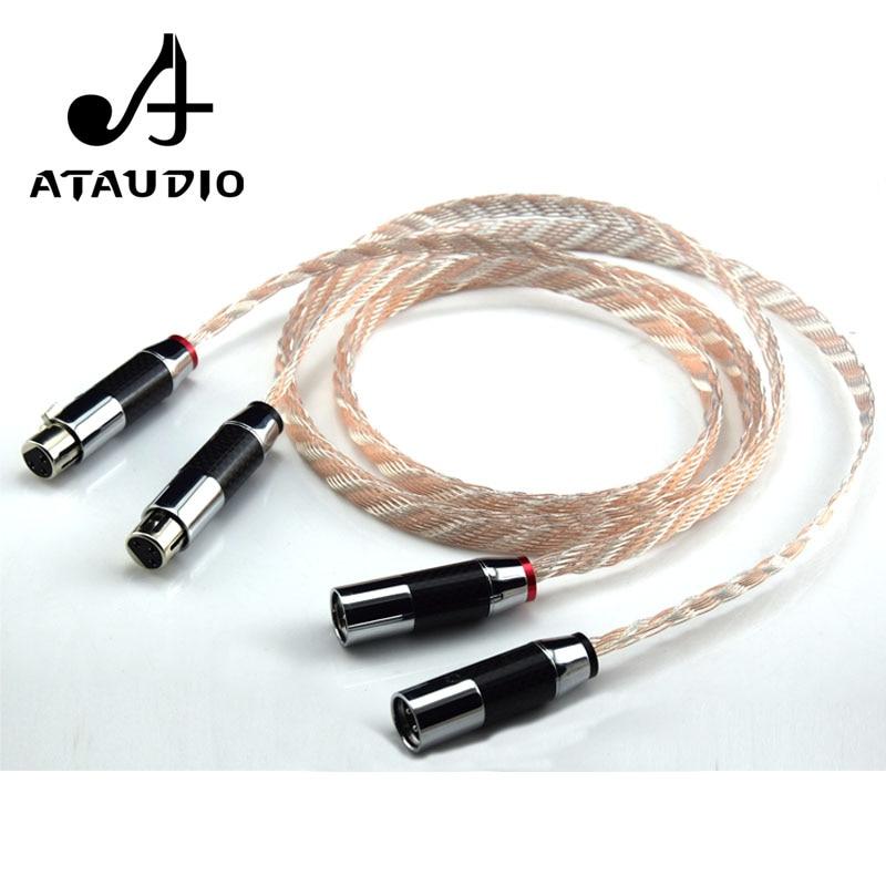 ATAUDIO hifi XLR Cable High Performance OCC 2XLR Male to Female Cable With Carbon Fiber Plug