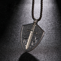 925 Silver Vintage Shield with Sword Pendant Necklace for Men Jewelry 49.5*34.5*5.7mm