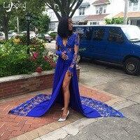 Королевский синий с кружевной аппликацией платье для выпускного вечера высокие Разделение уникальный официальная Вечеринка платье для че