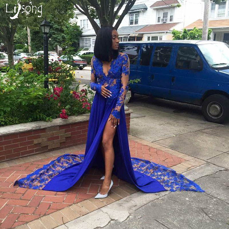 Royal Blue Merletto Appliques Prom Dress Alta Leg Split Convenzionale Del Vestito da Partito per le Donne di Colore Unico Homecoming Celebrity Maxi Abiti