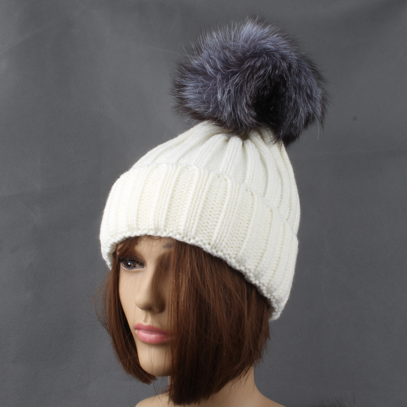 Winter Silver Fox Fur Hats For Women Solid Color Thick Knitted Beanie - Apparel Accessories - Photo 4