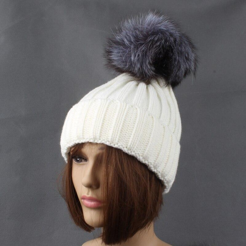 Winter Silver Fox Fur Hats For Women Ensfarget tykk Strikkede beanie - Klær tilbehør - Bilde 4