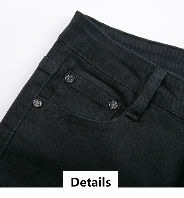 KSTUN FERZIGE women jeans high waist stretchy black embroidered flares denim pants mom jeans ladies trousers vaqueros mujer larger 36 17