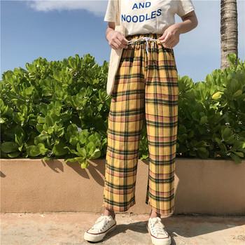 Pantalones w stylu Vintage żółty kratę japoński Harajuku spodnie na lato kobiety na co dzień sznurek kostki długości luźne szerokie nogi spodnie bawełniane tanie i dobre opinie WOMEN Poliester spandex Mikrofibra Pełnej długości REGULAR Dzianiny Fałszywe zamki Łączone NONE Geometryczne Mieszkanie
