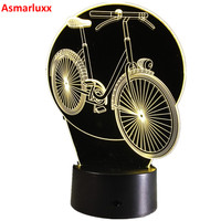 Cool 3D Bicycle Table Lamp LED Night Lights Bike With Atmosphere Lamp 7 Color As Gifts