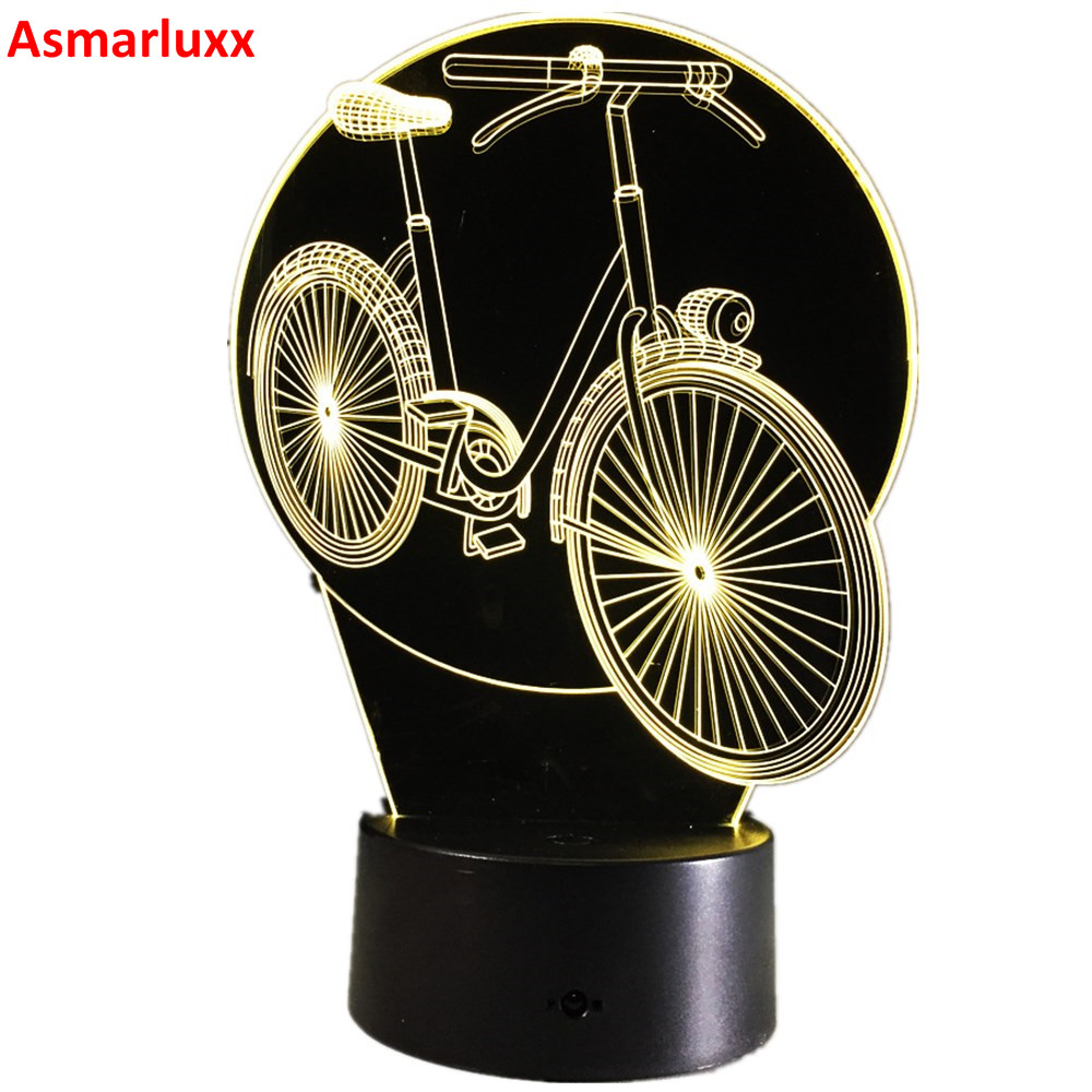 Cool 3D Bicycle Table Lamp LED Night Lights Bike with Atmosphere Lamp 7 Color as Gifts For Children Birthday Party Dropshipping