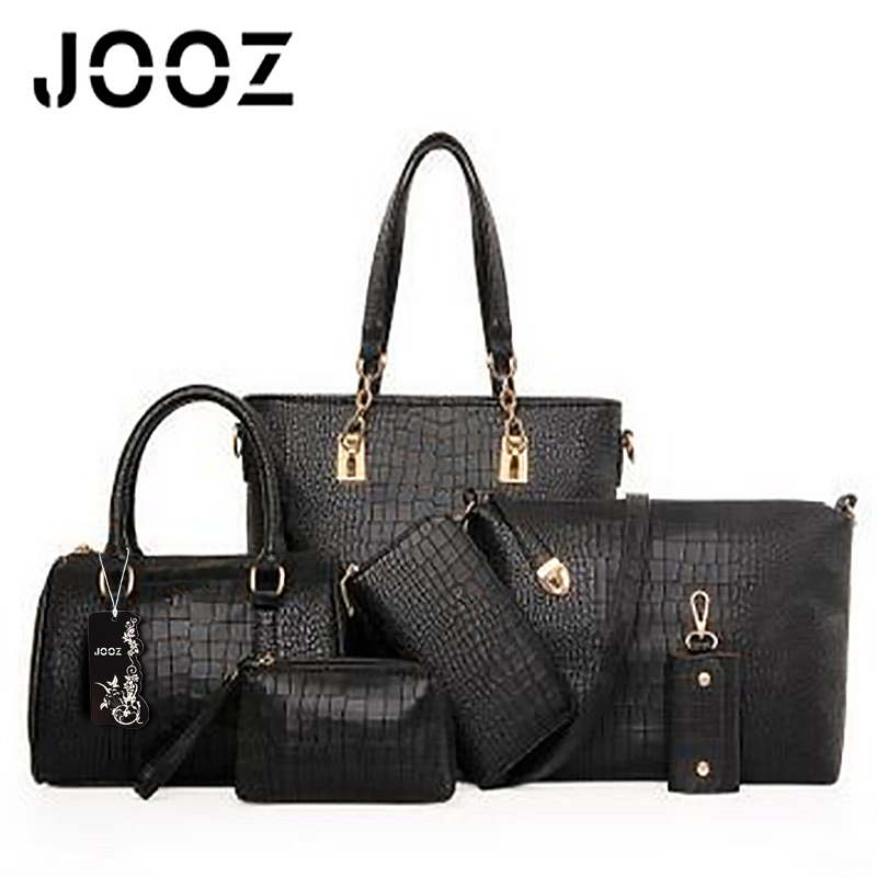 JOOZ 2017 Luxury Alligator PU Leather Lady Handbag 6 Pcs Composite Women Bags Set Shoulder Crossbody Messenger Bag Purse Clutch jooz brand luxury belts solid pu leather women handbag 3 pcs composite bags set female shoulder crossbody bag lady purse clutch