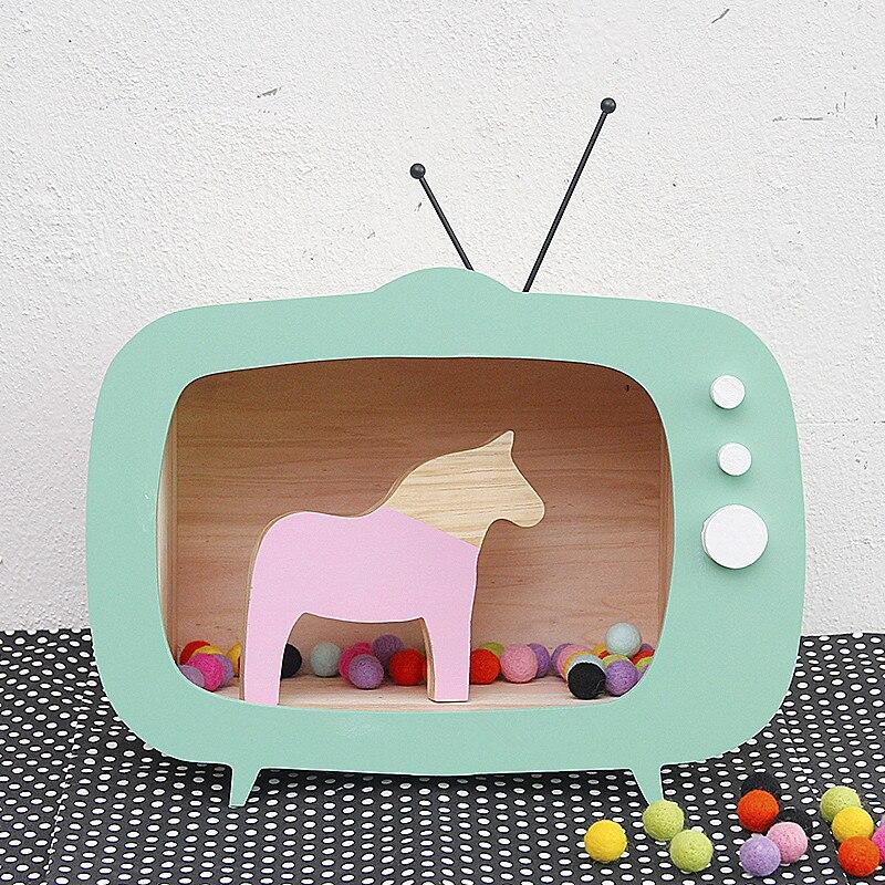 Nordique 40*30 CM en bois télévision étagère murale nordique pépinière enfants chambre décoration bois TV jouet scandinave enfants chambre décor