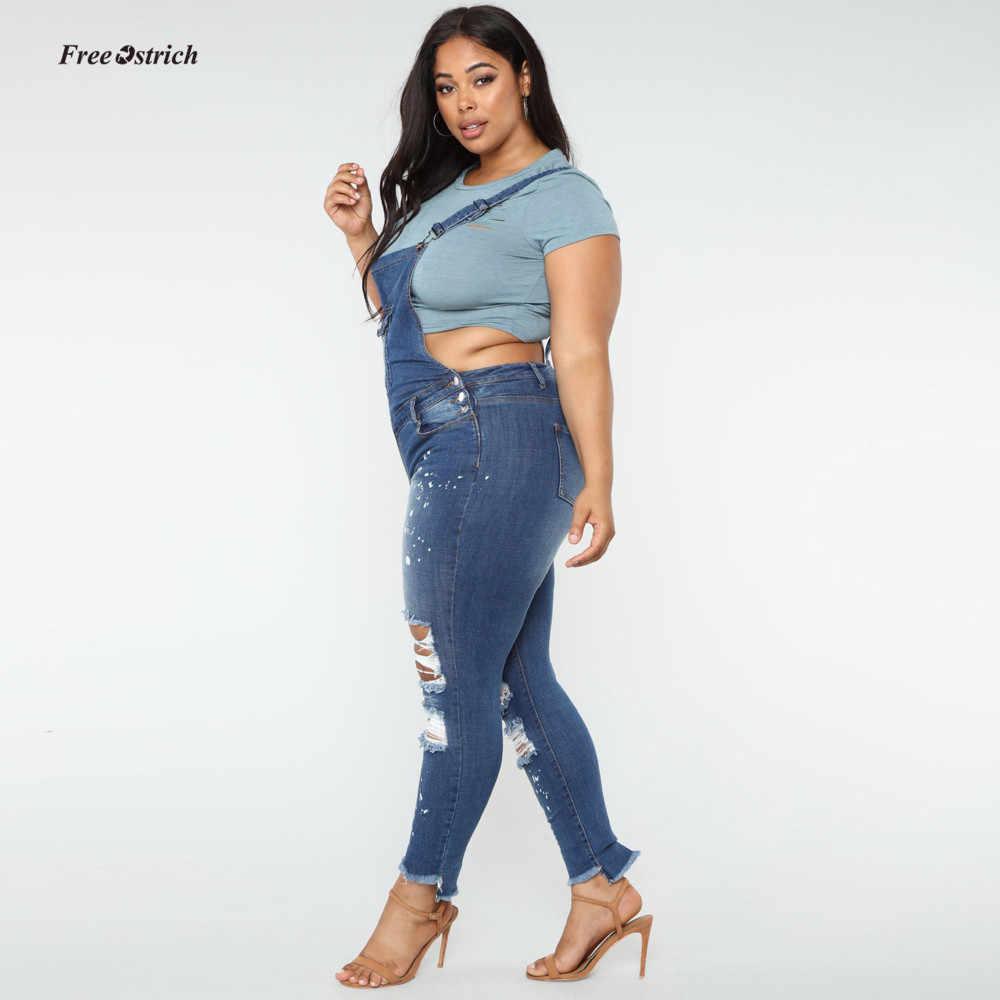 Бесплатная страуса одежда Для женщин джинсы Для женщин Повседневное джинсовый комбинезон на лямках, штаны с дырками комбинезоны джинсы деним брюки комбинезон больших размеров с джинсовыми брюками
