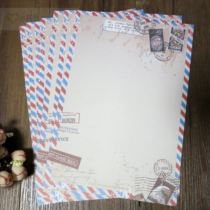 80sheets Vintage Letter Paper 250x173mm Retro Air Mail Style Writing Paper