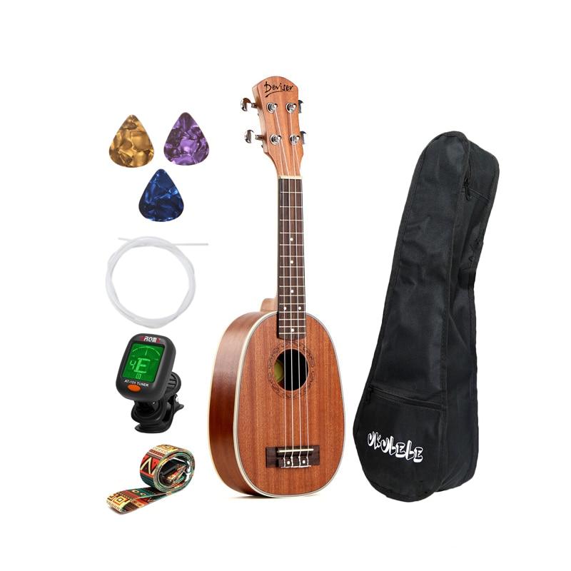 21 Inch Ukulele Pineapple Shape Sapele Hawaii UKlele For Beginner With Bag/Strap/Picks/Nylon Strings/Tuner