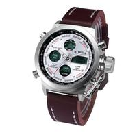Chaude Marketing Nord Double Mouvement Alarme Horloge À Quartz Montre-Bracelet PU En Cuir Sport Hommes Montre en gros Sep16