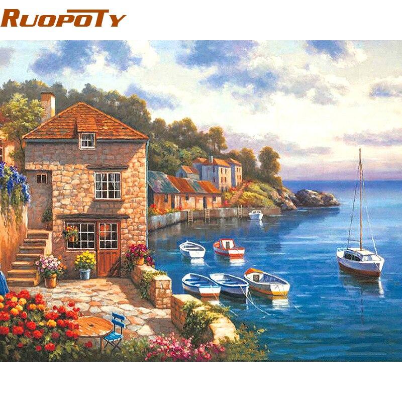 RUOPOTY Das Mittelmeer DIY Digitale Malerei Durch Zahlen Acryl Bild Handgemalte Ölgemälde Für Einzigartige Home Decor