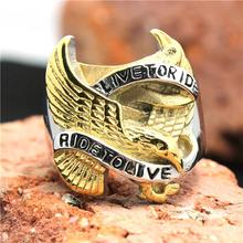 316L Stainless Steel Silver Golden Biker Eagle Ring Mens Motorcycle Biker Eagle Band Party Ring
