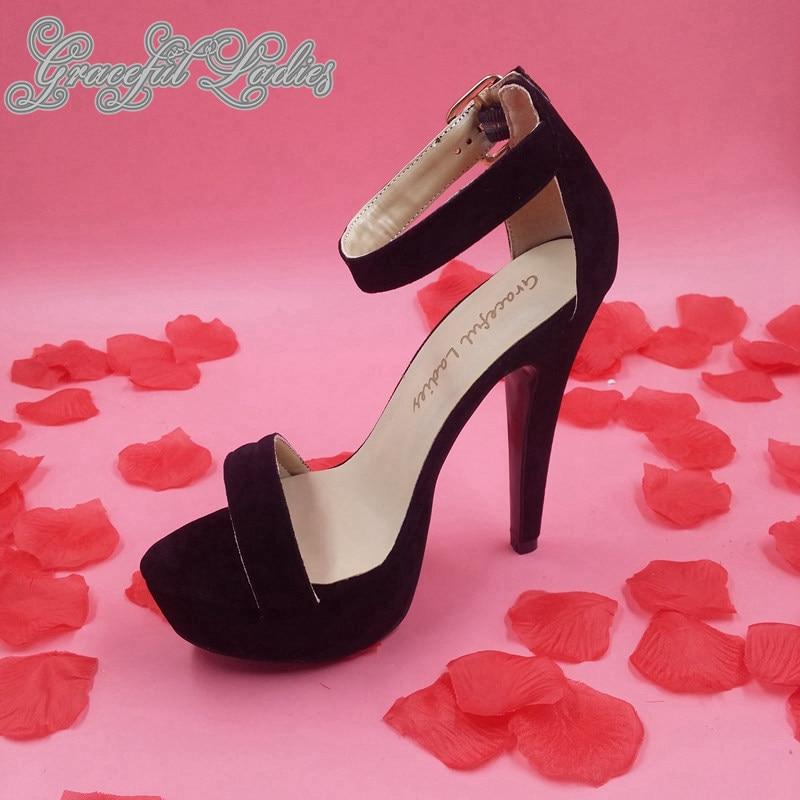 Negro Suede Sandalias de Plataforma de Las Mujeres Zapatos de Tacón Alto de Tiras Tacones Chaussure