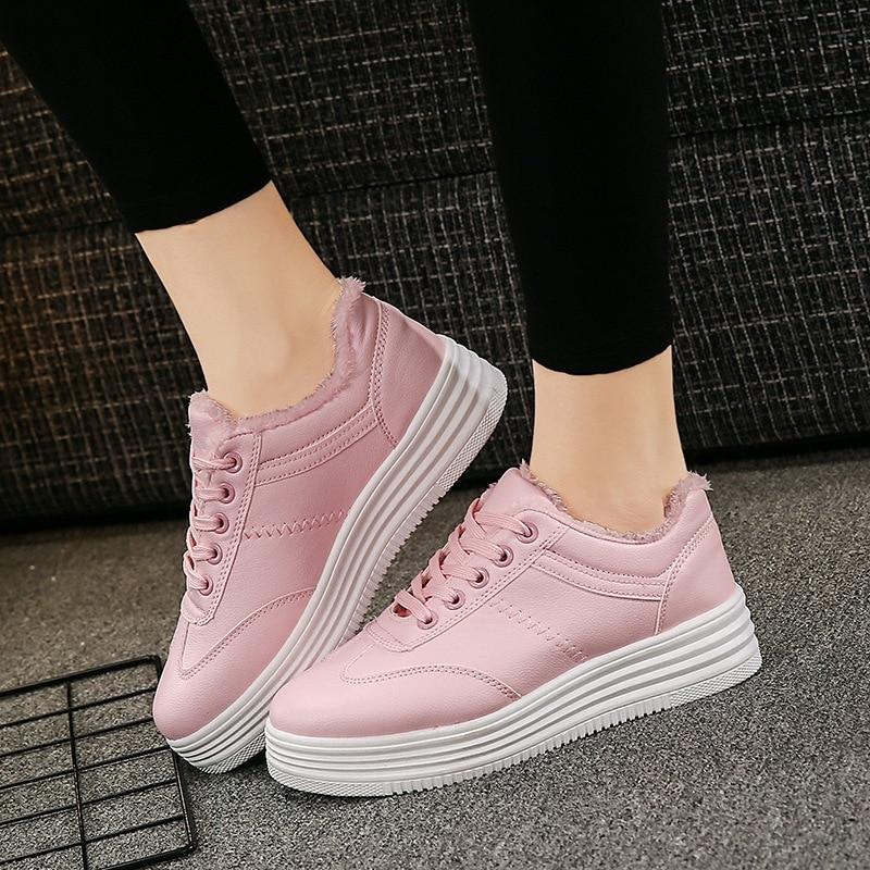 Korean version of the white walking shoes ladies low to help cotton warm walking shoes