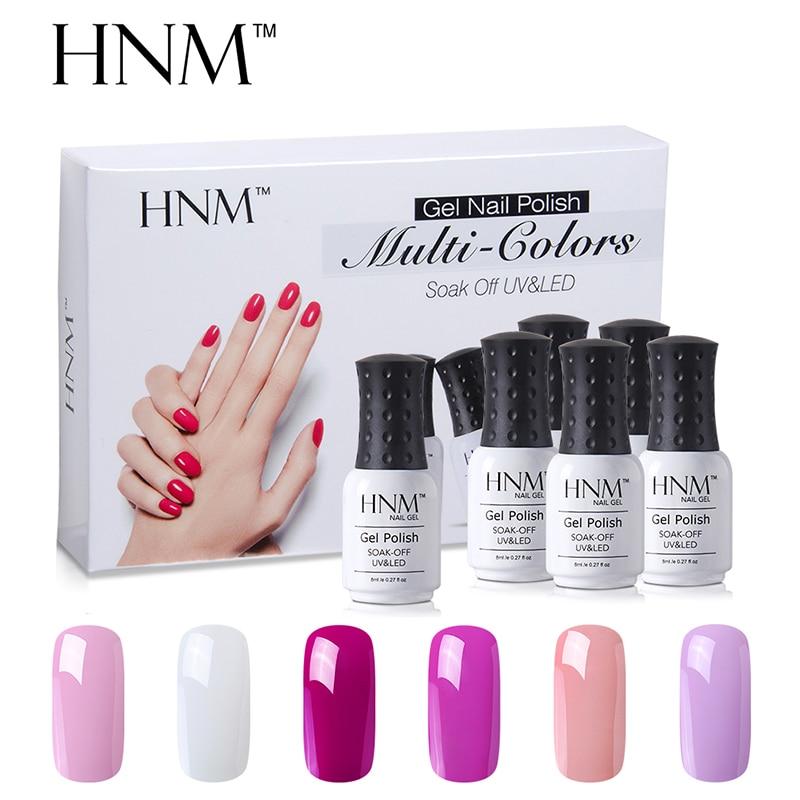 HNM 6 Color Nail Polish Set UV Gel Nail Polish 8ML 6 pcs/lot Soak Off  Gelpolish Paint Nail Art Esmalte GelLak Varnish Nail Kit