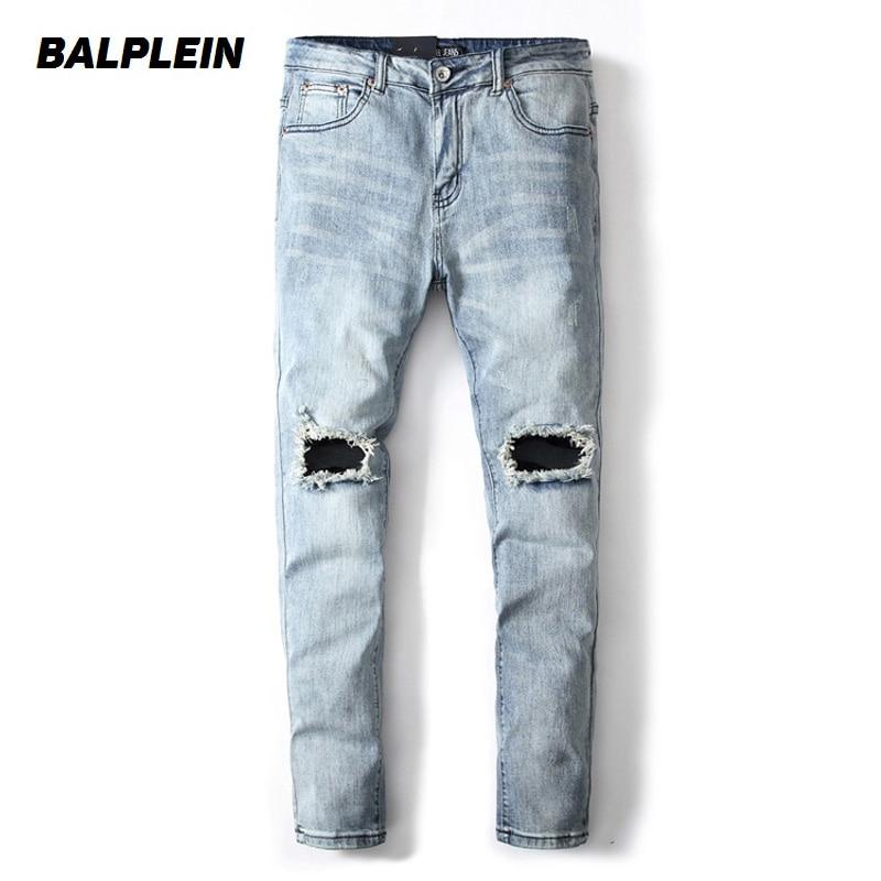 Light Blue Color Fashion Men Jeans Slim Fit Denim Stretch Elastic Pants Destroyed Ripped Jeans Homme Brand Jeans Men Streetwear