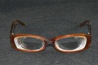 Women Lady high myopic high myopia brown handmade frame myodisc glasses -11D PD64