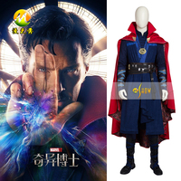 Top Quality Doctor Strange Costum Dr Strange Steven Cosplay Costume Steven Strange Red Cloak Dress Halloween Full Set + Necklace