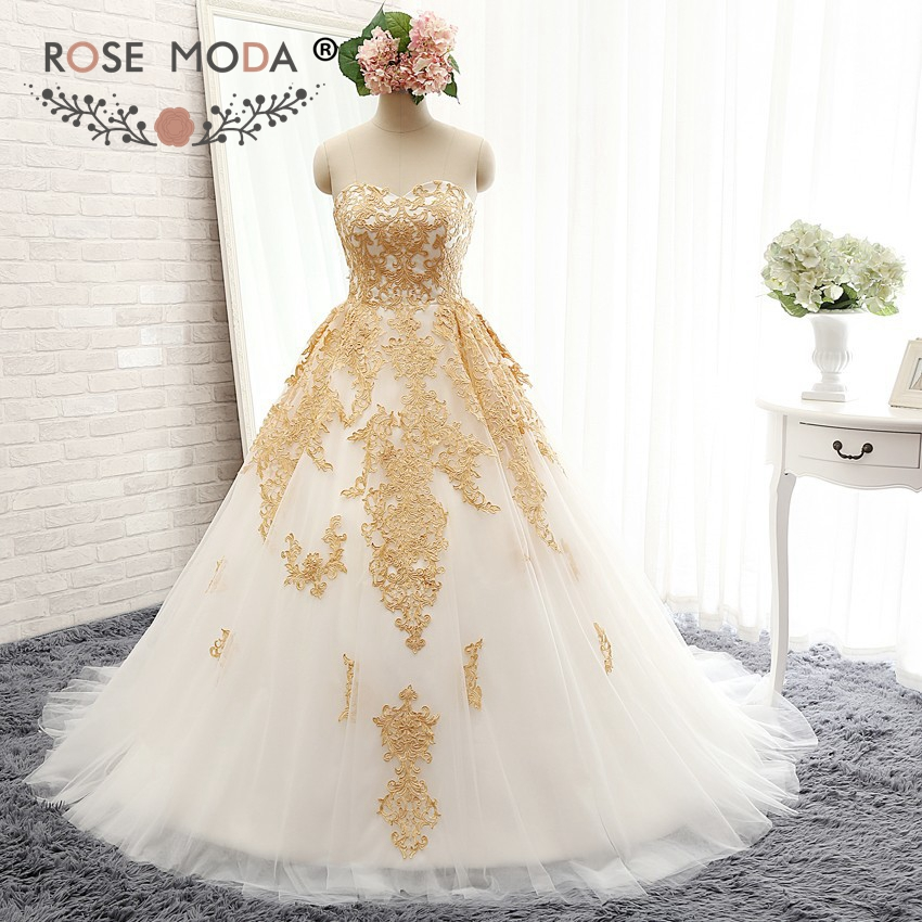 rose moda luxury white and gold ball gown strapless sweetheart neckline gold embroidery wedding dress