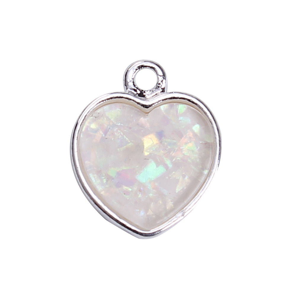 DoreenBeads Zinc Based Alloy & Resin Silver Color Charms White Heart Pattern DIY Components 17mm( 5/8) x 14mm( 4/8), 5 PCs