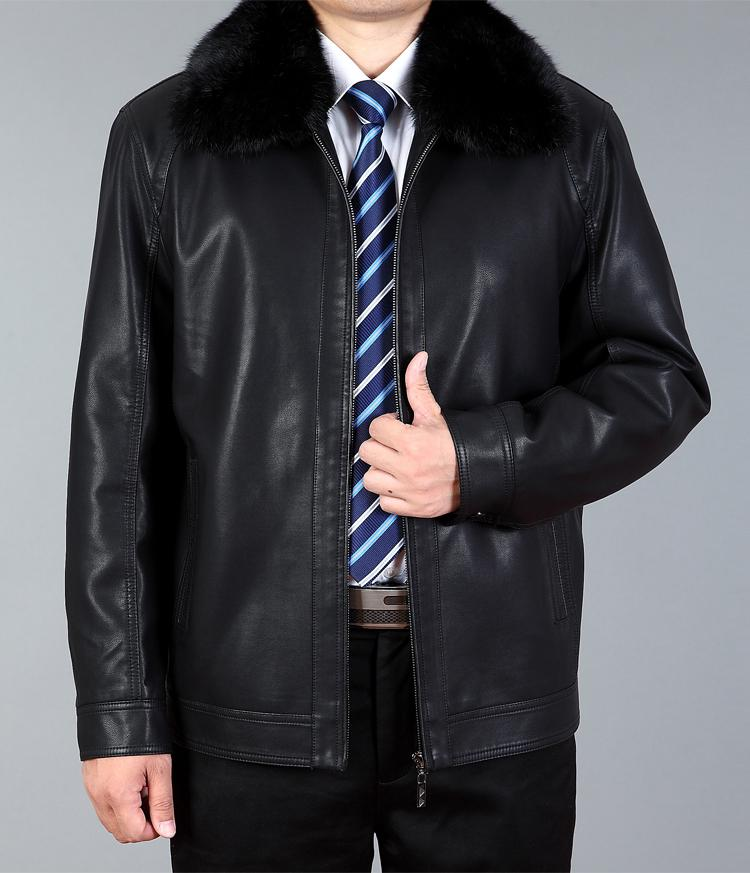 Mens Winter Faux Leather Jacket Men Warm Faux Fur Leather Jackets Man Thickening Coats With Fur Collar Free Shipping