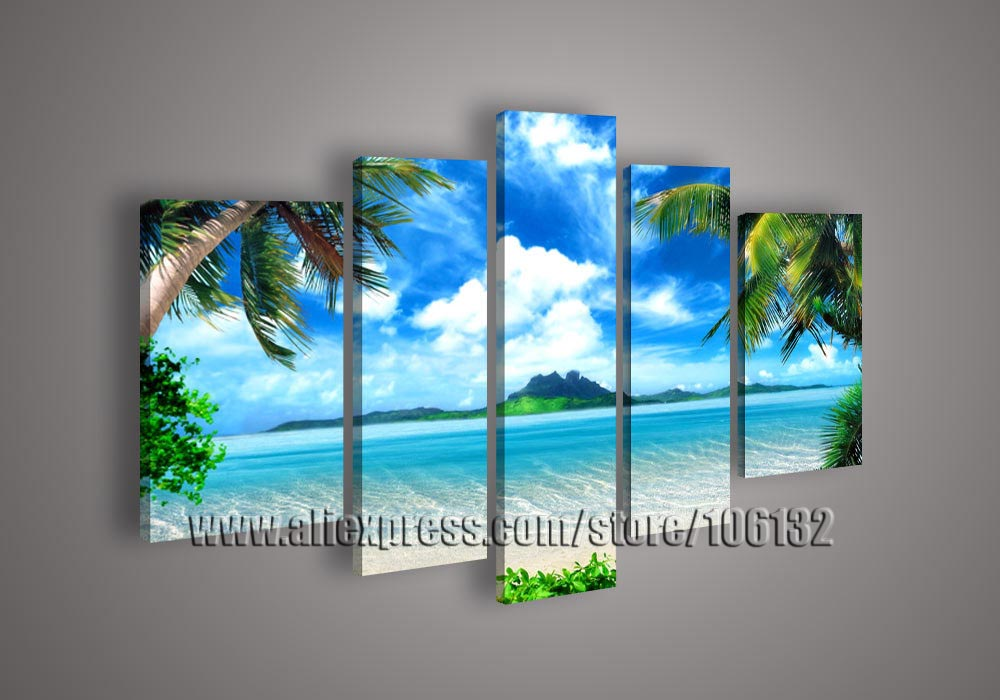 ed94e5280 Framed 5 Panel Large Sea Shore Paintings Buying Palm Trees 5 Panel Canvas Art  Set Seascape Oil Painting Wall Picture A0846-in Painting & Calligraphy from  ...
