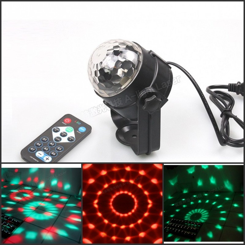 Remote Control Mini RGB 3W LED Crystal Magic Ball Stage Effect Lighting Lamp Party Disco Club DJ Bar KTV Light Show