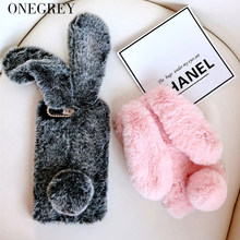 Rabbit Fur Case For Huawei P30 P20 Pro P8 P9 Lite Mate9 10 Nova 3 3i 3e Luxury p20lite Cute Hairy Rhinestone Cover Soft Celular(China)