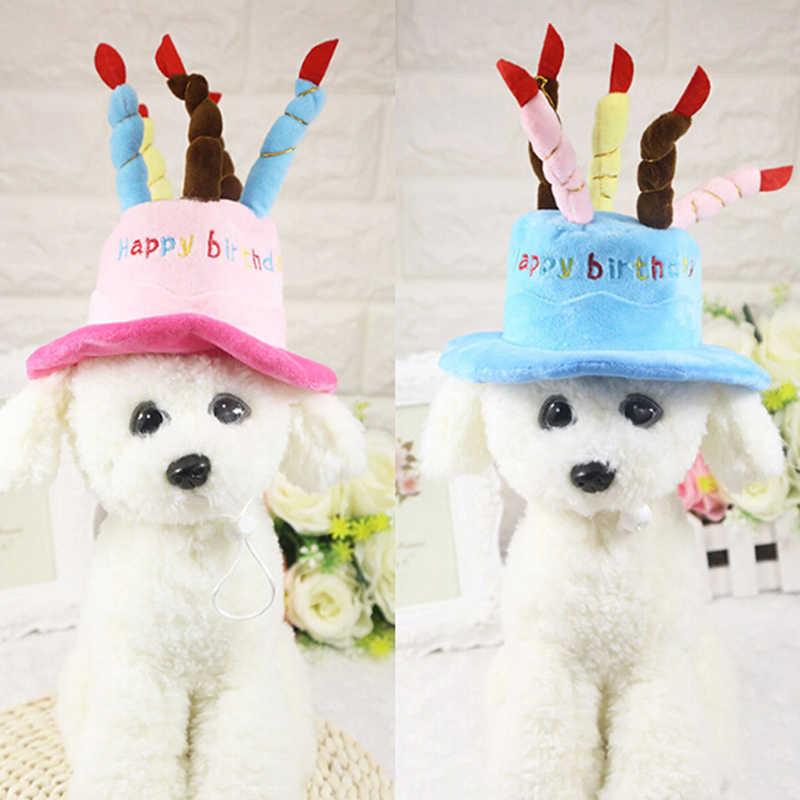 قبعات الحيوانات الأليفة للكلاب كلب القط عيد ميلاد قبعات قبعة مع شموع الكيك تصميم حفلة عيد ميلاد زي أغطية الرأس اكسسوارات السلع