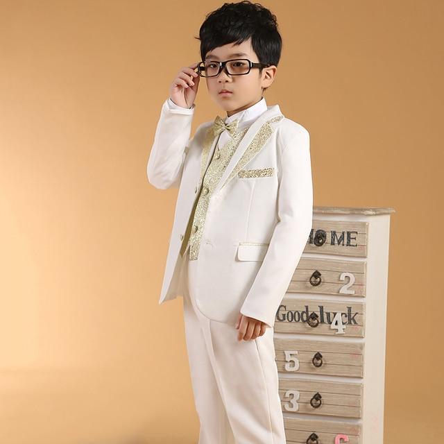 Boys White Suits Kids Clothes Children Wedding Tuxedo Gold Vest Collar Attire For Dress