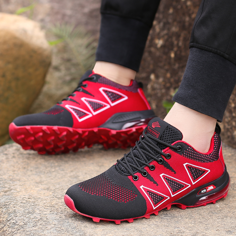 ebb67c1c09b86 2018 New Shelves Breathable Lace Up Running Sneakers for Adult Men Comfortable  Sports Athletic Jogging Walking Cushion Shoes-in Running Shoes from Sports  ...