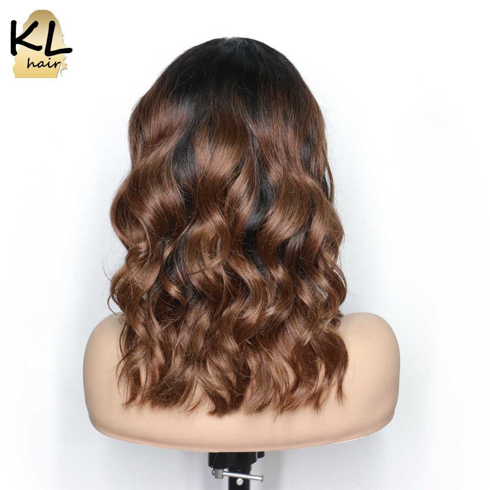 Предварительно сорванные человеческие волосы на кружеве парики для черных женщин волнистые T1B/30 бразильские волосы remy Омбре короткий парик-Боб с волосами младенца