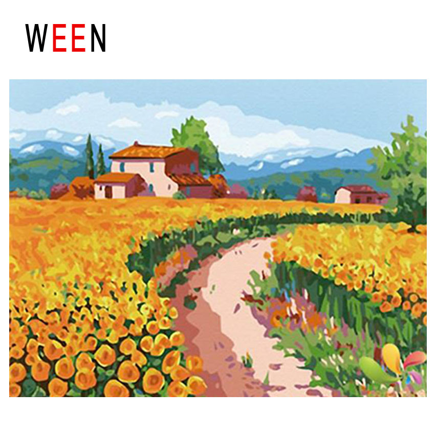 WEEN Flower Filed Diy Painting By Numbers Abstract Farm Oil On Canvas Town House Cuadros Decoracion Acrylic Home Decor