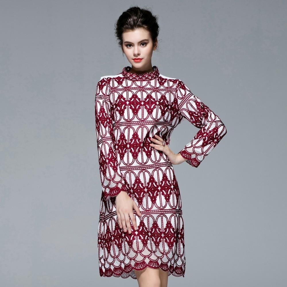 Automne piste broderie à manches longues femmes robes nouvelle mode hiver Style chinois Xxl longue robe 5a-38