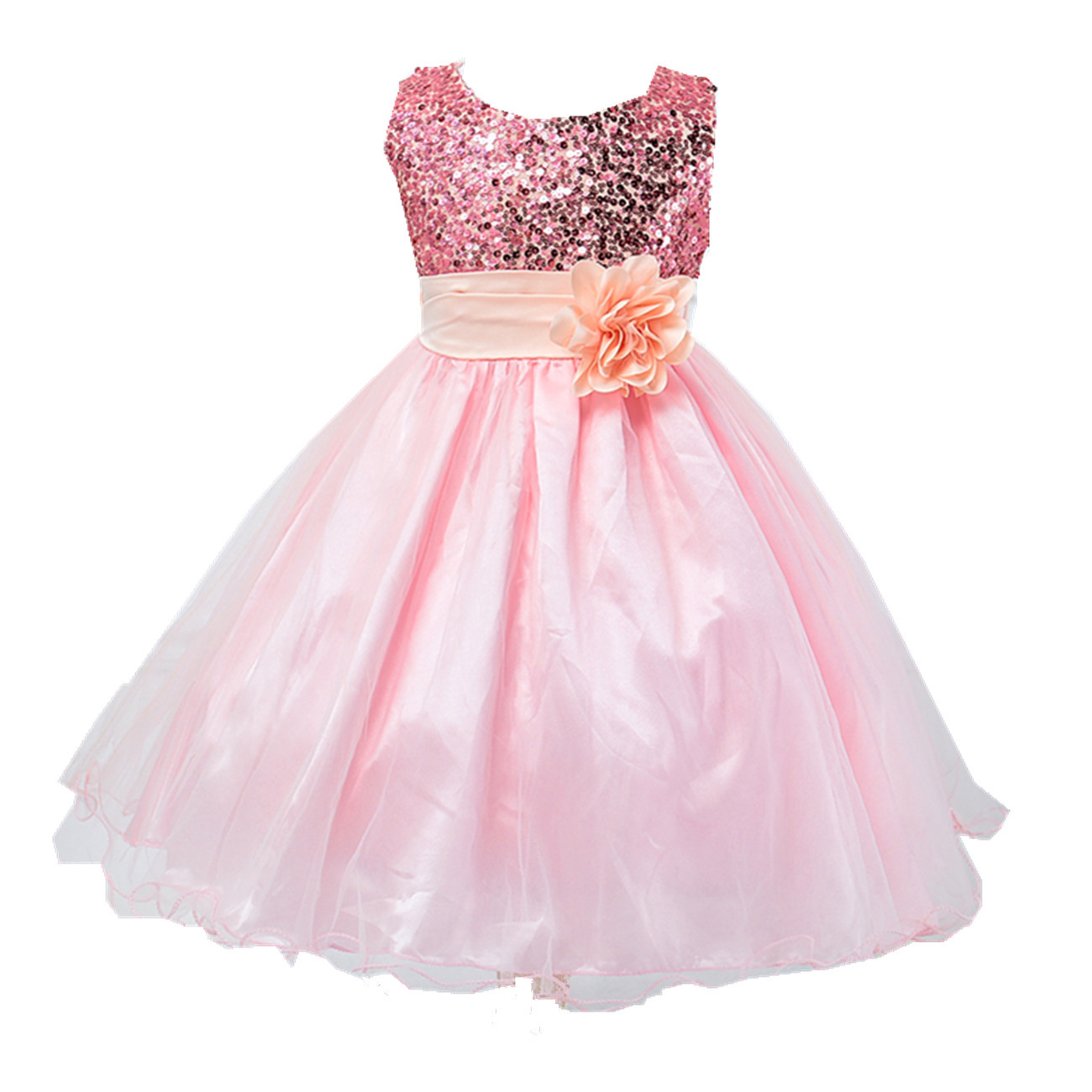 Pics photos girls party dress christmas - Christmas Girls Party Dress Sequined Long With Belt Flower Child Dresses Toddler To Teen Age Size