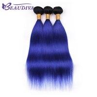 Peruvian Hair Bundles T1B/BLUE Straight Hair Bundles 10 20 Remy 100% Human Hair Extensions BEAU DIVA Hair Weaves Free Shipping