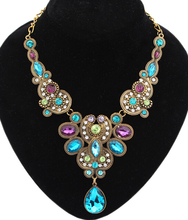New 2015 SBY0693  Fashion Collars Chains Short rinestone Bohemia Romantic Blue stone necklace for women Jewelry