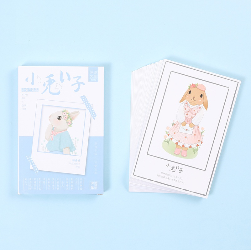 30Sheets/Set Cute Little Bunny Rabbit Postcard /Greeting Card/Message Card/Christmas And New Year Gifts