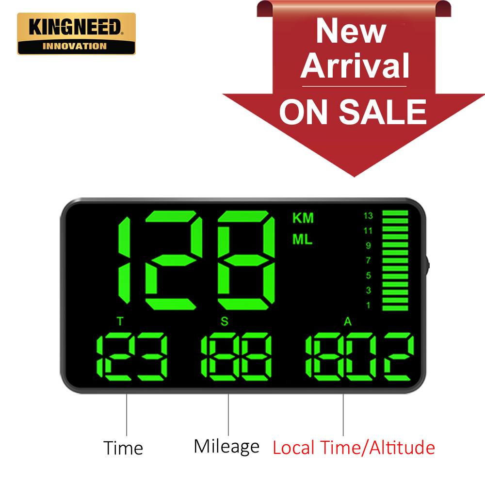 KINGNEED C90 GPS Speedometer Hud Display Car Hud With Overspeed Alarm Driving Time Digital Local Time Altitude Mileage Speed