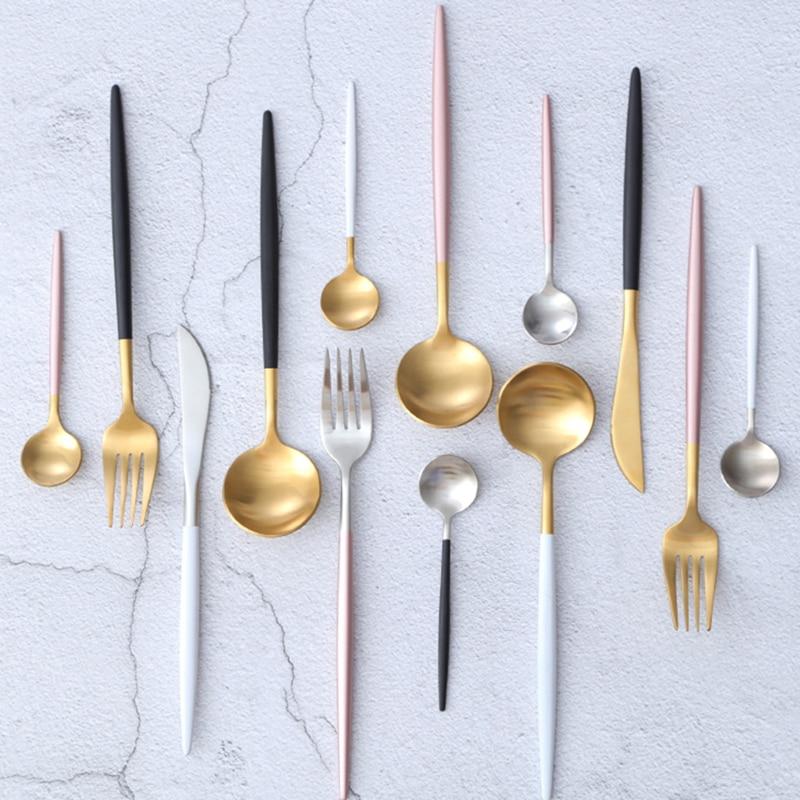 KTL 4Pcs Zlatni pribor za jelo Set Svadbeni Srebrni pribor za večeru Vjenčanje Forks Noževi Scools 18/10 od nehrđajućeg čelika Black Silverware Set