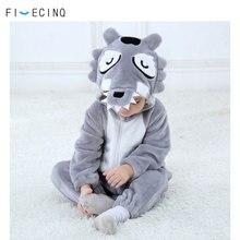 Baby Grau Wolf Kostüm Kigurumi Tier Cosplay Lustige Kühle Phantasie Onesie Childer Mädchen Jungen Overall Winter Warme Weiche Flanell Pyjama
