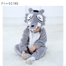 Baby Gray Wolf Costume Kigurumi Animal Cosplay Funny Cool Fancy Onesie Childer Girl Boy Jumpsuit Winter Warm Soft Flannel Pajama