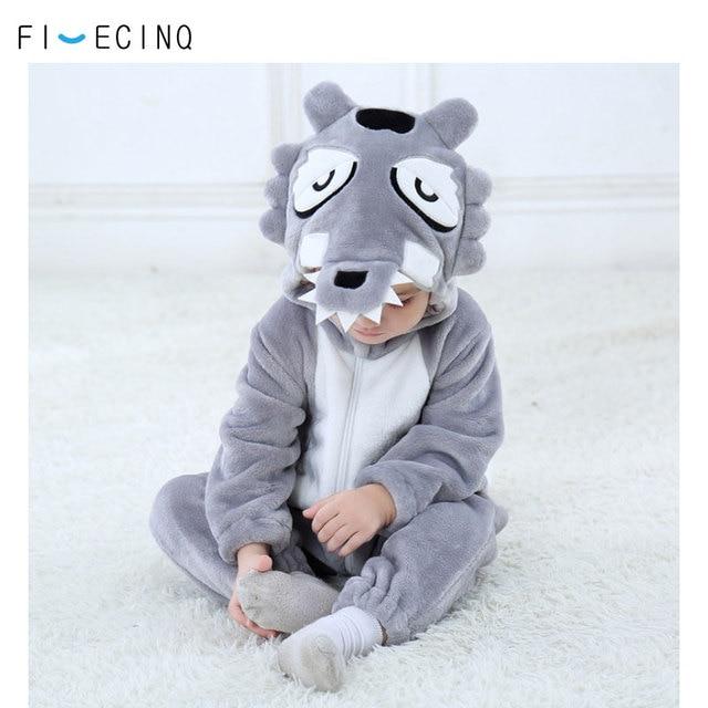 الطفل الذئب الرمادي زي Kigurumi الحيوان تأثيري مضحك بارد يتوهم نيسيي Childer فتاة صبي بذلة الشتاء الدافئة لينة الفانيلا بيجامة