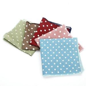 25*25CM Brand New Men's Linen Cotton Pocket Square Polka Dot Handkerchief Chest Towel Prom Wedding Party Suit Hankies Gift