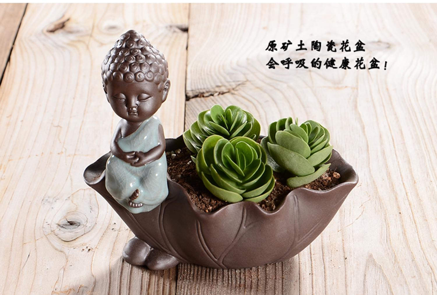 Ceramic lotus leaf buddha cart cacti succulent plant pot flower ceramic lotus leaf buddha cart cacti succulent plant pot flower planter in flower pots planters from home garden on aliexpress alibaba group izmirmasajfo Images