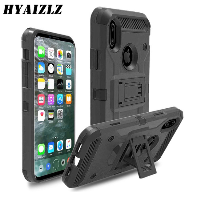 new product f9d16 21d0f US $3.99 20% OFF|Case for iPhone XR XS 5 SE X 6 7 Rugged Steel Tough Case  With Belt Clip Shockproof Hard Cover for iPhone XS MAX 6 7 Plus-in Fitted  ...