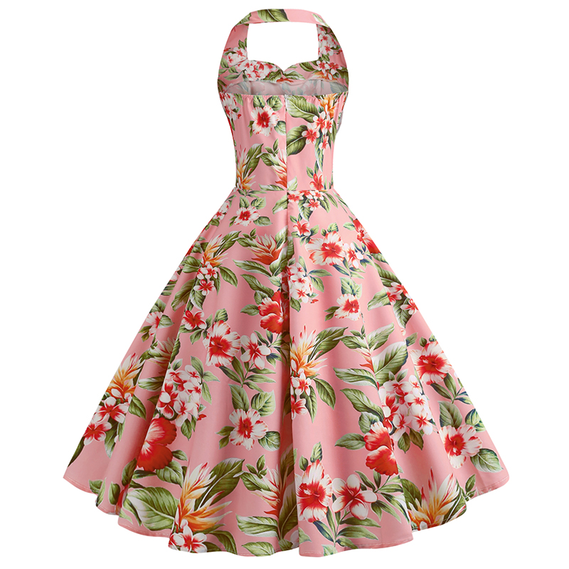 Bebovizi 2019 Summer New Women Casual Office Vintage Elegant Party Dresses Flower Print Pink Plus Size Sexy Retro A Line Dress in Dresses from Women 39 s Clothing