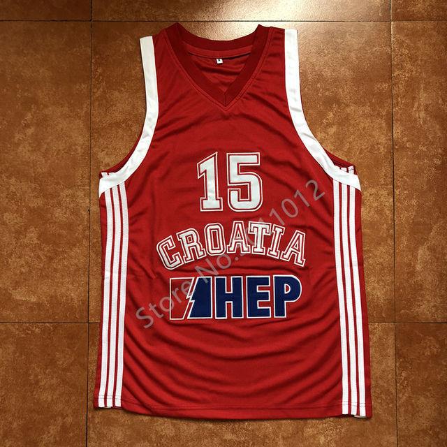 36661888d2bf Newst  15 Dario Saric Team Croatia Basketball Jersey Stitched S XXL ...